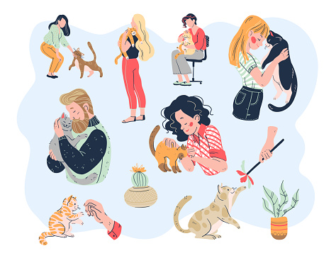 Cat lovers bundle. Casual people men and women with their lovely kitty pets friends: embracing, playing, taking care, tenderness.
