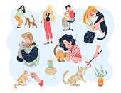 Cat lovers bundle. Casual people men and women with their lovely kitty pets friends: embracing, playing, taking care, tenderness. Hand drawn flat style. Vector illustration.
