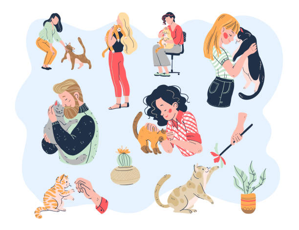 Cat lovers bundle. Casual people men and women with their lovely kitty pets friends: embracing, playing, taking care, tenderness. Cat lovers bundle. Casual people men and women with their lovely kitty pets friends: embracing, playing, taking care, tenderness. Hand drawn flat style. Vector illustration. animal shelter stock illustrations