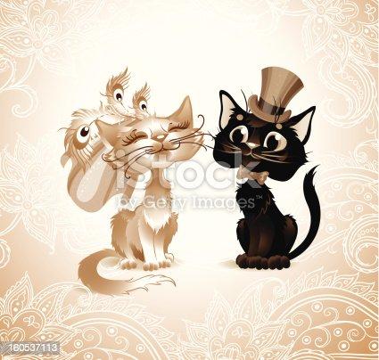 istock Cat lovers in retro style. 160537113