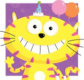Little party cat with balloons & party hat.