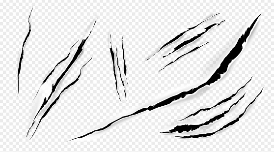 Cat marks, claws scratches isolated vector set