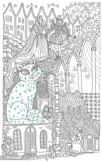 istock A cat may look at a king. Illustration for the fairy tale of Mary Poppins. Coloring book page for children and adults contour doodle sketch 1286700469