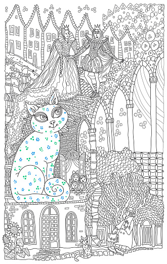 A cat may look at a king. Illustration for the fairy tale of Mary Poppins. Coloring book page for children and adults contour doodle sketch