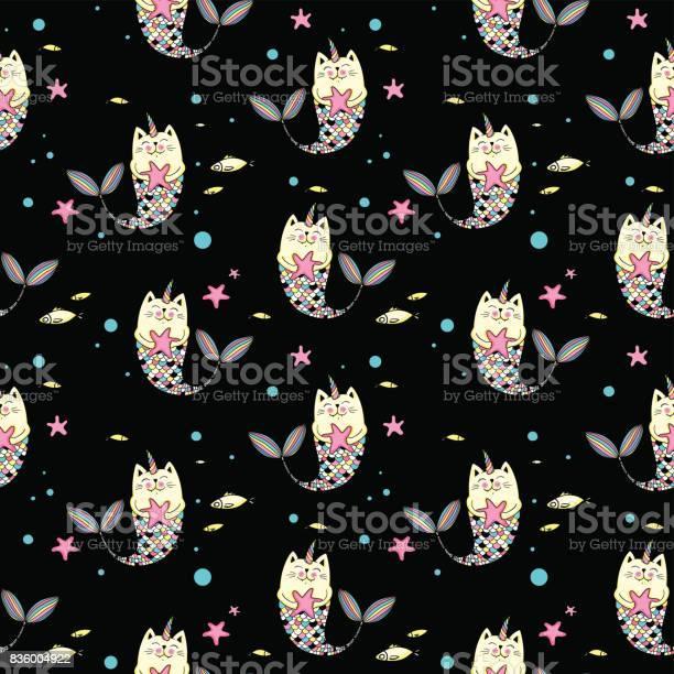 Cat mermaid seamless pattern on black vector id836004922?b=1&k=6&m=836004922&s=612x612&h=uc9vi reqqfpofap729fwsfudn2d vntei8bpr5mxp0=
