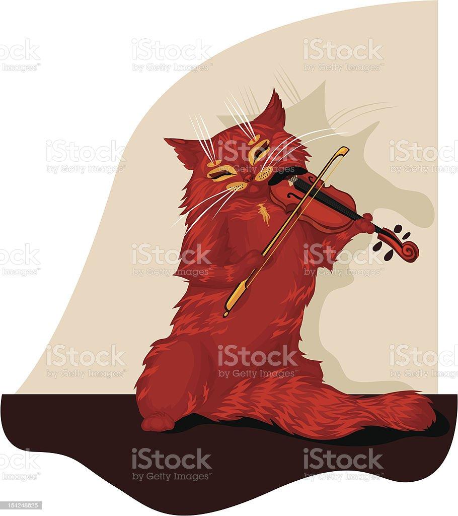 Cat musician royalty-free stock vector art