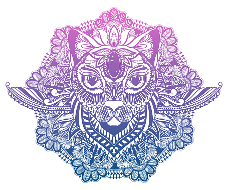 Cat mystic and mandala tattoo.Gradient pastel color in white background. Decorative graphic drawing.