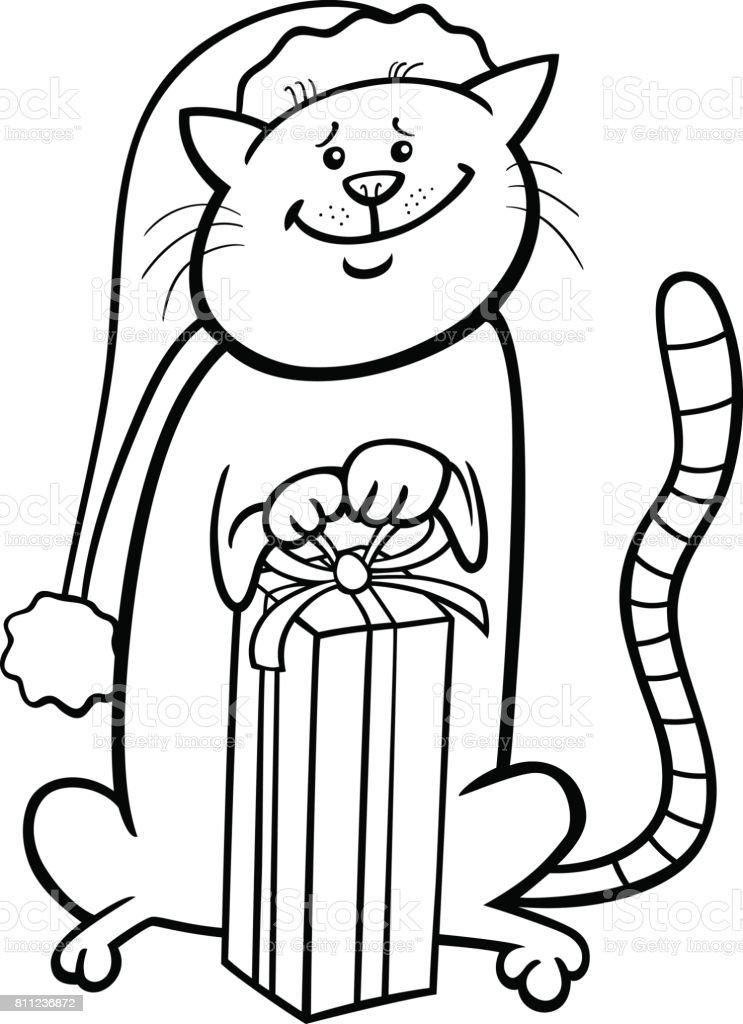 Kedi Boyama Kitabı Noel Karikatür Stok Vektör Sanatı Animasyon