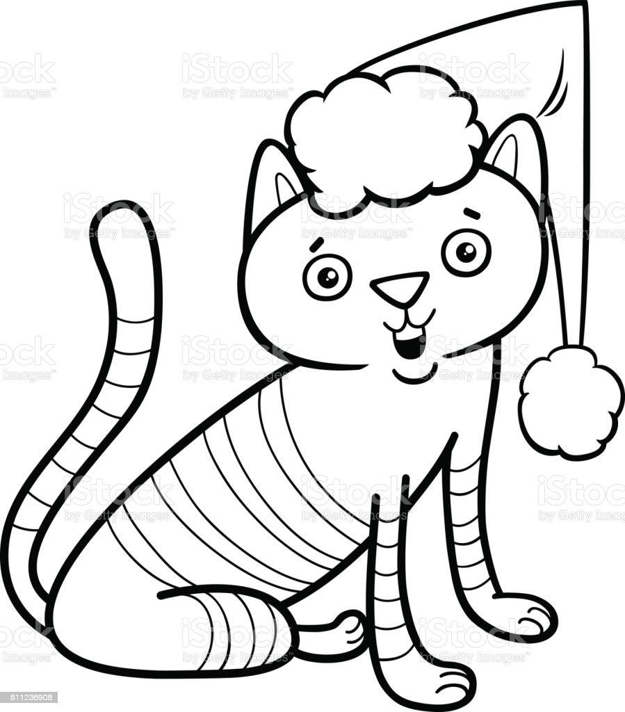 Kedi Boyama Kitabi Noel Stok Vektor Sanati Animasyon Karakter