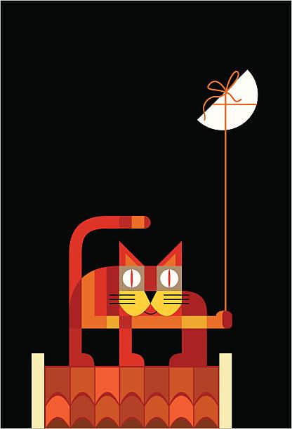 ilustraciones, imágenes clip art, dibujos animados e iconos de stock de gato en el último piso con luna - tintanegra00