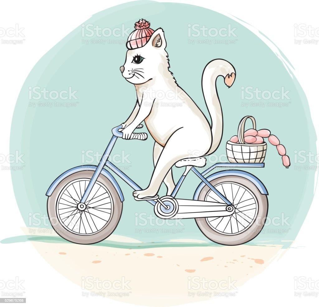 Cat on the bike vector art illustration