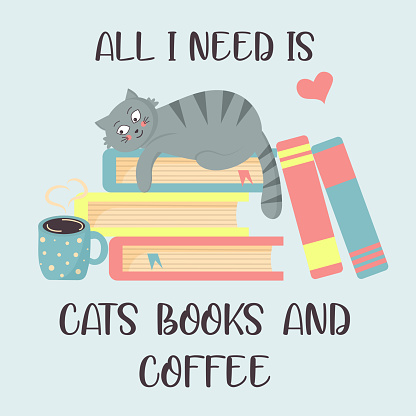 Cat on the books and hot coffee.