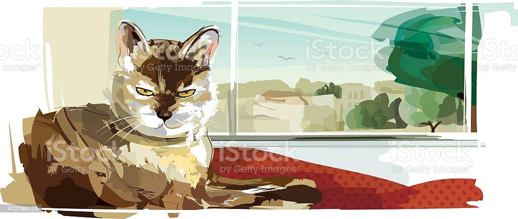 Cat on Windowsill vector art illustration