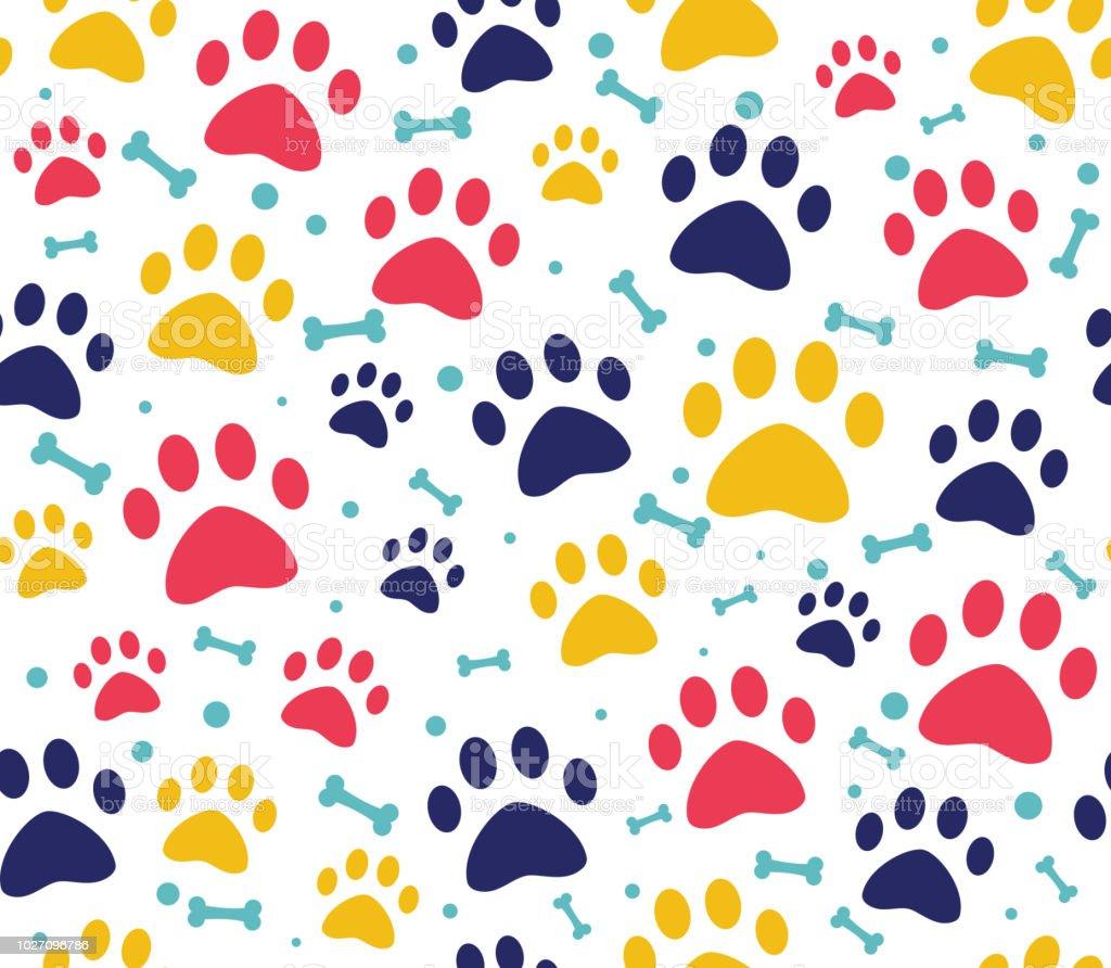 Ilustración de Perro O Gato De La Pata Patrones Fondos Para Sitios ...