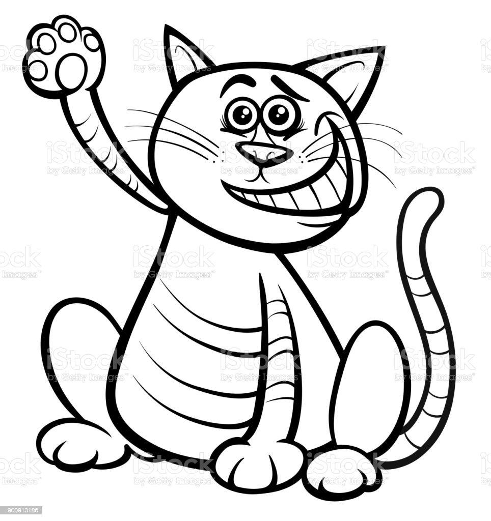Kedi Ya Da Yavru Kedi Hayvan Karakter Boyama Kitabi Stok Vektor
