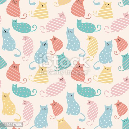 Cat pattern cute characters drawing with pastel colors