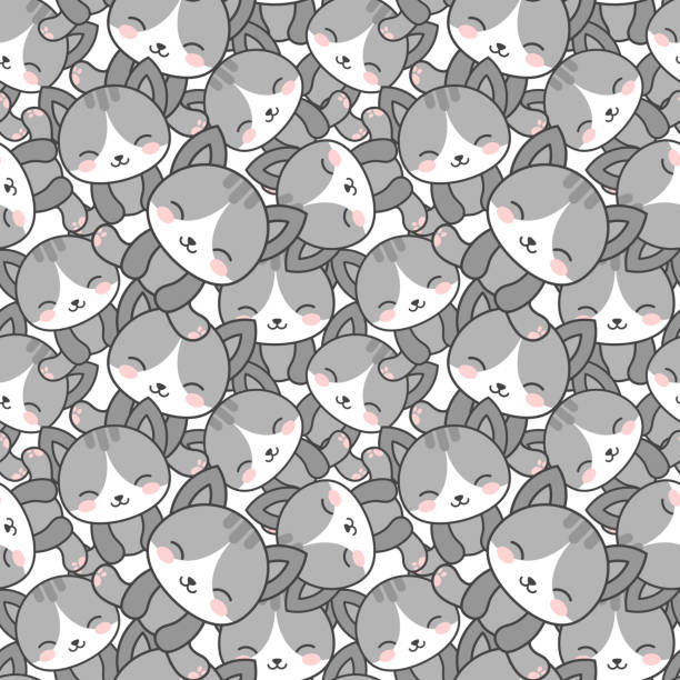 Cat Pattern, Kitten Paw Background Cute Cats with Kitten Paw Seamless Pattern, Grey Cartoon Animals Background, Vector Illustration baby sloth stock illustrations