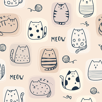 Cat pattern, seamless animal background.