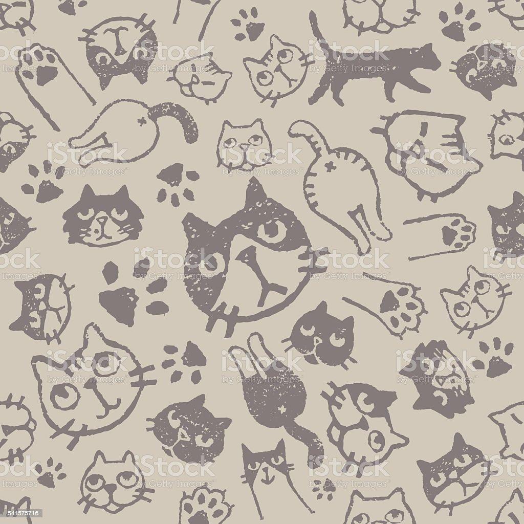 Cat pattern vector art illustration
