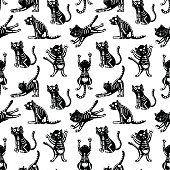 vector seamless pattern with cute cats in monochrome color palette, Halloween theme print