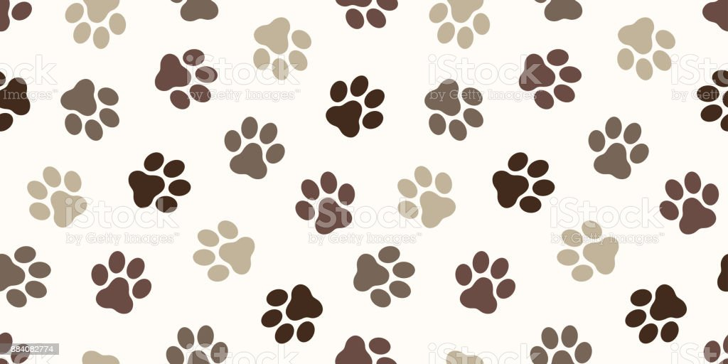 Cat Paw Dog Kitten Puppy Foot Print Vector Seamless Pattern Wallpaper Background Royalty Free