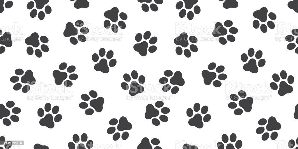 Cat Paw Dog Kitten Vector Seamless Pattern Wallpaper Background Royalty Free