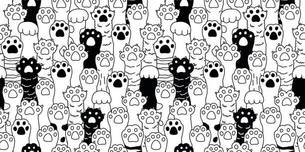 stockillustraties, clipart, cartoons en iconen met kat poot kat ras kitten hand doodle illustratie naadloze patroon behang pictogramachtergrond - miauwen