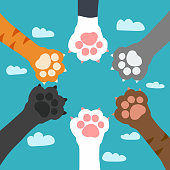 Cat paw on sky cartoon vector illustration