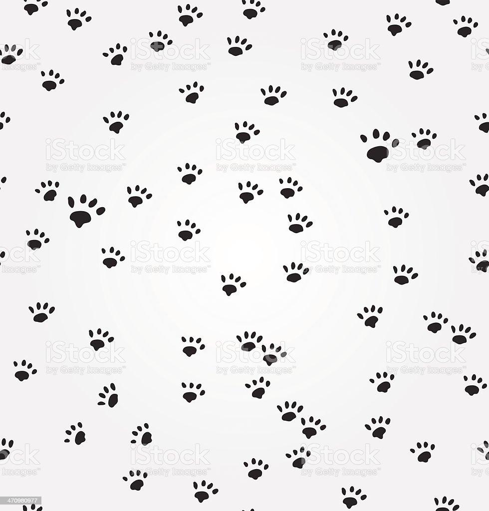 Cat  Paw Prints vector seamless background vector art illustration