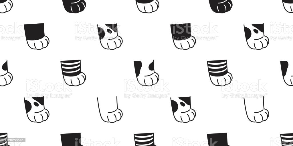 cat paw seamless pattern vector calico kitten breed footprint cartoon...