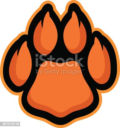 This paw is ready for action. Perfect for your cat-themed sports team logo. Customize with your own colors and text