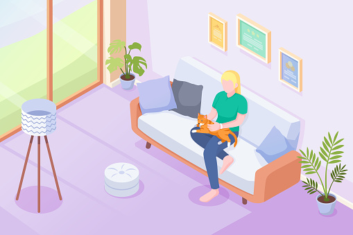 Cat pet and owner on sofa at home, vector isometric illustration. Woman or girl sitting on sofa with cat or kitten on knees, caress and cuddle, domestic pets in house, modern interior background
