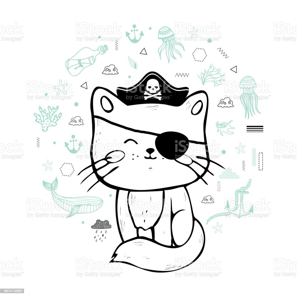 cat pirate. vector art illustration
