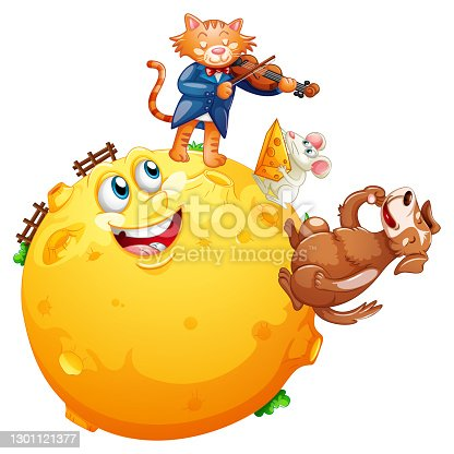 istock A cat playing violin on the moon with rat eating cheese and cute dog cartoon character isolated on white background 1301121377
