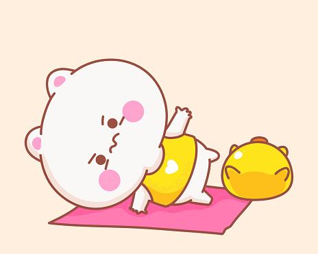 Gato jogando yoga com ilustração de desenho animado de pato