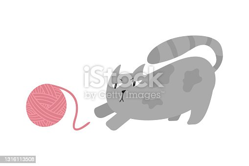 istock Cat plays with yarn ball. Hand drawn flat vector illustration of cute kitten. 1316113508