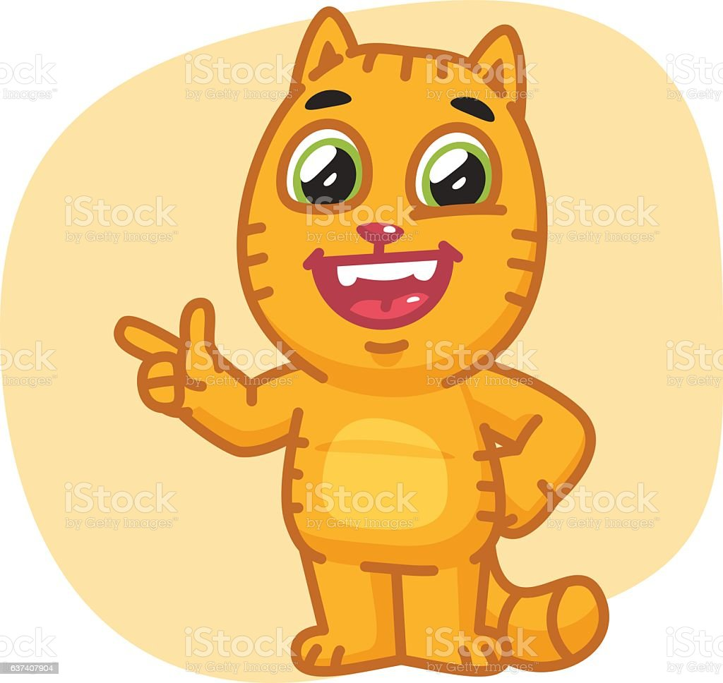 Cat Points Finger and Laughing vector art illustration