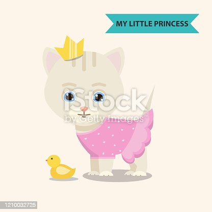 istock Cat princess with toy 1210032725