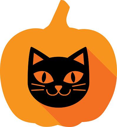 Cat Pumpkin Icon Silhouette