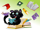 cat read with books swirling in the background