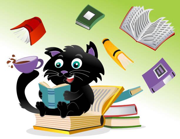 Cat read books vector art illustration