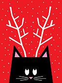 Vector illustration of a cute black cat looking up at his antlers.