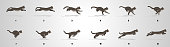 Cat Running animation frames and sprite sheet,Silhouette