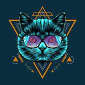 Cat Sacred Geometry Illustration