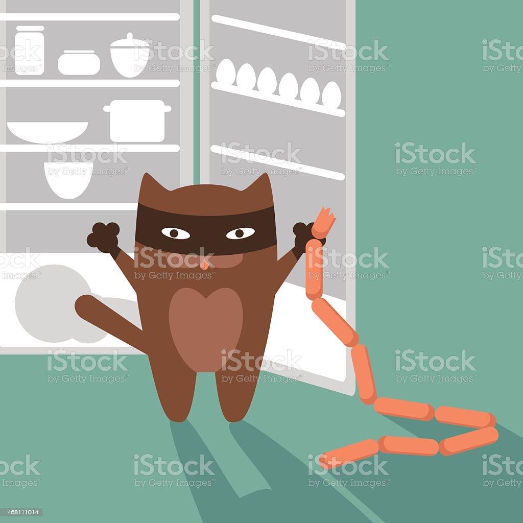 Cat, sausages and refrigerator. Vector illustration vector art illustration
