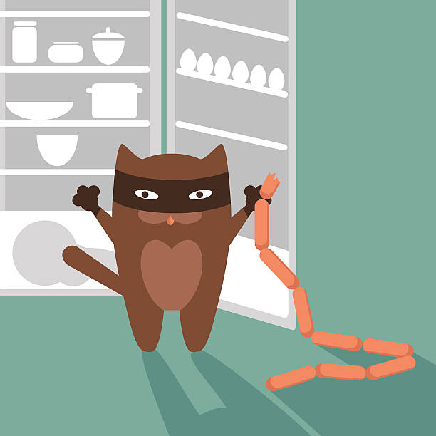 Cat, sausages and refrigerator. Vector illustration vector art illustration