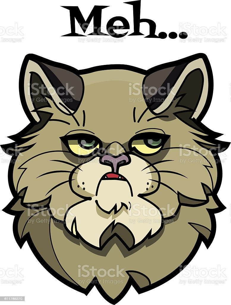 Cat Saying the Word Meh vector art illustration