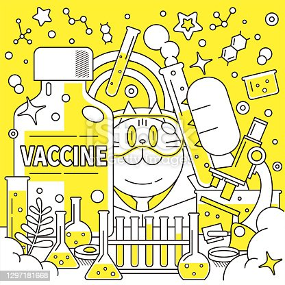 istock Cat scientist (pharmacist, doctor, biochemist) wearing protective eyewear and developing a big COVID-19 vaccine (or flu vaccine) in a laboratory 1297181668