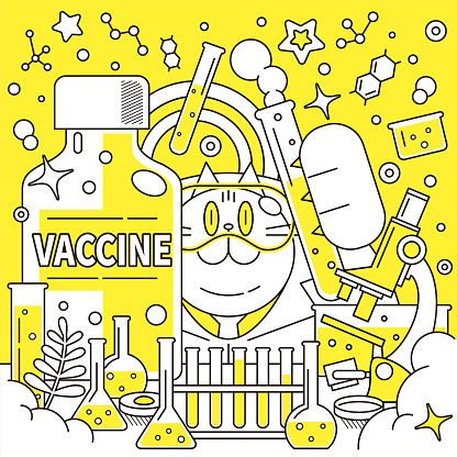 Cat scientist (pharmacist, doctor, biochemist) wearing protective eyewear and developing a big COVID-19 vaccine (or flu vaccine) in a laboratory