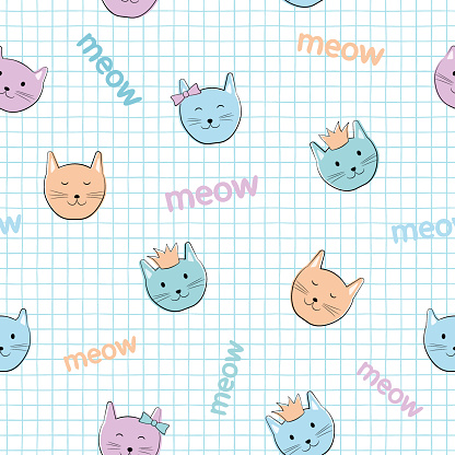 Cat seamless pattern. Children's cartoon characters. Cute kittens with accessories: in a crown, with a bow. Pastel palette. White background with a blue cell.